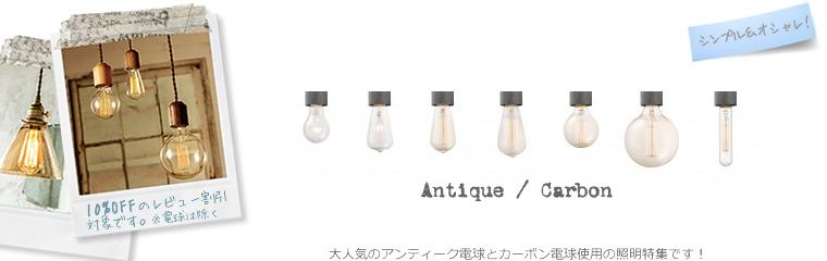 アンティーク球、カーボン電球使用の照明特集!レビュー割引10%OFF対象商品です。