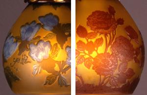 ガレガラスに表現されている自然界のモチーフ