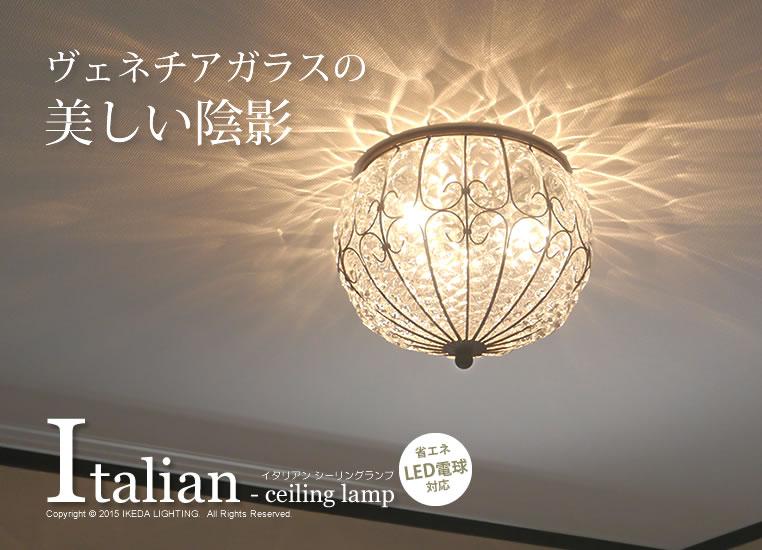 イタリア製シーリング〔白熱球・電球形蛍光灯・LED照明〕の照明イメージ