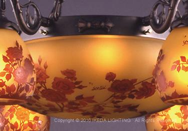 薔薇(レッドローズ)【ガレ ランプ コレクション】の照明詳細画像3