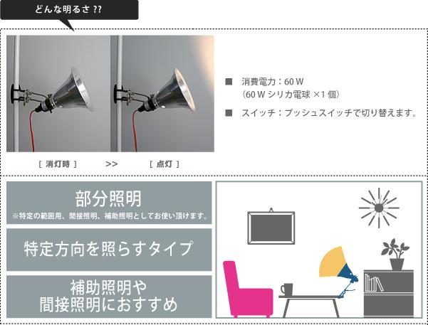 AW-0290ファクトリークリップライト(白熱・蛍光・LED照明)アートワークスタジオの照明 明るさの説明