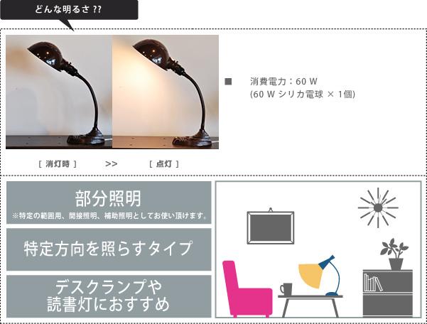オールドスクールデスクランプAW-0300の明るさの説明