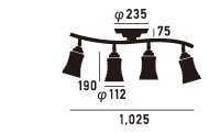 AW-0334アマレットリモートシーリングランプのサイズ画像