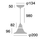クルールグラスワイドペンダントのサイズ画像