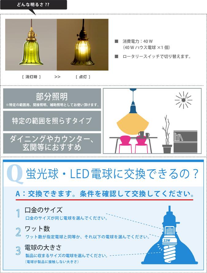 どんな明るさ クルール グラス ロング ペンダント ライト 照明 aw-0365 食事や会話を彩るレトロな灯り led照明