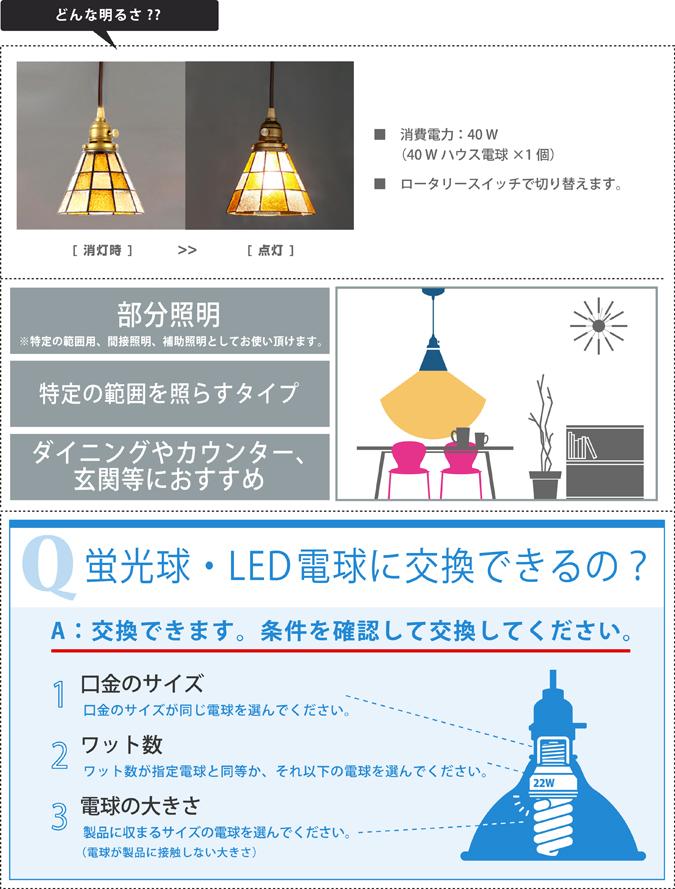 どんな明るさ ステンドグラスペンダント チェッカー ライト 照明 aw-0371 優しくて懐かしいレトロな灯り led照明