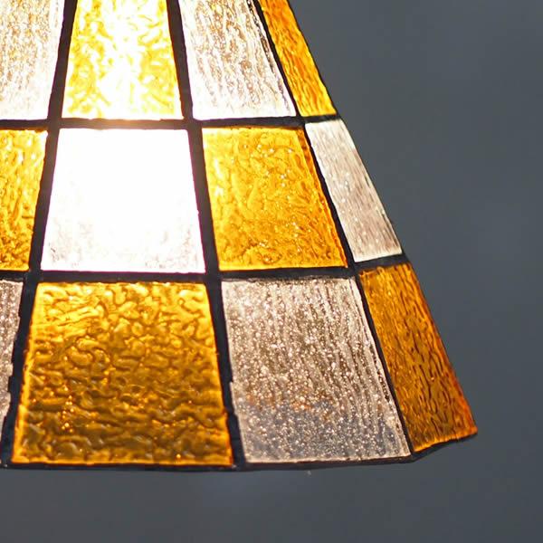 ステンドグラスペンダント チェッカー ライト 照明 aw-0373 優しくて懐かしいレトロな灯り led照明