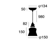 ステンドグラスペンダント ヘルム AW-0372 照明のサイズ