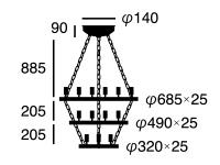 Elements21エレメンツ12AW-0381の照明サイズ画像