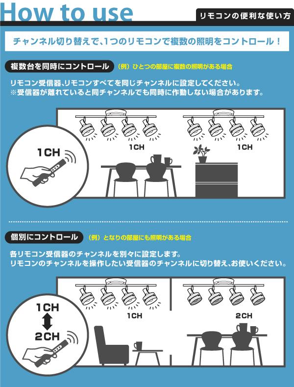 複数照明のリモコン操作説明