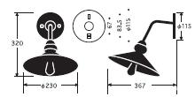 電柱型ブラケット|後藤照明のサイズ画像