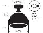 鉄鉢 CL型|後藤照明のサイズ画像