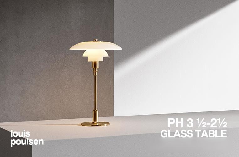 PH3 1/2 - 2 1/2 Glass Table|PH3 1/2 - 2 1/2 テーブル|ルイスポールセンのLED照明イメージ
